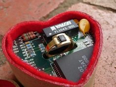 Microchip Ring and Box | Community Post: 30 Geeky Engagement Rings, Wedding Bands, And Ring Boxes
