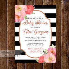 Watercolor Flowers Baby Shower Invitation, Black and White Stripes Baby Shower Invitation, Watercolor Floral, Pink and Coral Flowers, Modern by MommiesInk on Etsy https://www.etsy.com/listing/222554251/watercolor-flowers-baby-shower