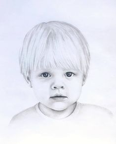 Pencil Portrait Drawing, Portrait Sketches, Portrait Art, Pencil Drawings, Portraits, Cute Baby Drawings, Art Drawings Sketches Simple, Realistic Drawings, Baby Face Drawing