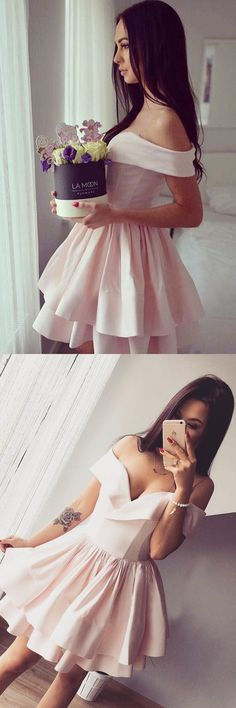 homecoming dresses, sweet off shoulder party dresses, chic short fashion dresses.