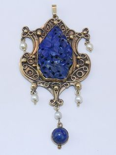 Victorian Edwardian Antique 14K Yellow Gold Lapis Lazulli & Pearl HUGE Pendant | eBay