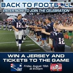 Enter to win a chance to be part of our on-field Back to Football celebration on Friday, August 16, 2013!  http://www.patriots.com/fan-zone/sweepstakes/2013/2013-back-to-football-fan-appreciation-sweepstakes.html