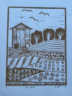 Down The Plot is an original handmade linocut print depicting the textures and variations of the allotment. I recently acquired my first allotment, which inspired this print. Image is approx 6x 8 Printed on A4 paper and sold unmounted and unframed. Each print will arrive wrapped in protective cellophane and backed with card. Limited editions of 10 Green and 6 Brown prints. Each one is signed, dated and numbered in pencil.  Due to the completely hand made nature of the work each print is sligh... Allotment Design, First Allotment, A4 Paper, Linocut Prints, Pencil, Texture, Inspired, The Originals, Printed