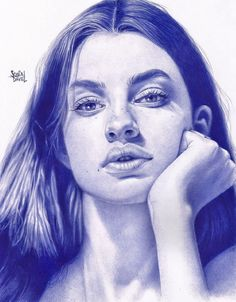 Ballpoint pen drawing by Sonia Davel. Dibujo a boligrafo año Portrait Sketches, Pencil Portrait, Portrait Art, Art Sketches, Portraits, Hyper Realistic Paintings, Realistic Drawings, Stylo Art, Fountain Pen Drawing