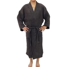 This soft and highly absorbent Unisex bamboo bath robe in charcoal made of a sturdy, tear-resistant blend of viscose from organic bamboo Housecoat, Linen Shop, Dark Grey Color, Organic Living, Bath Linens, Home Spa, Charcoal, Bamboo, Unisex