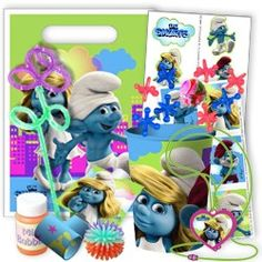 Smurfs Deluxe Favor Packs (For 8 Guests) | $55.99 | http://www.discountpartysupplies.com/girl-party-supplies/smurf-party-supplies/smurfs-deluxe-party-favor-set.html