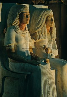 Painted limestone statue group depicting Meryre and his wife Iniuia. New Kingdom, Dynasty XVIII, from the Saqqara Necroplis. (c) Kenneth Garrett