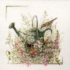 Watering Can Cross Stitch Kit By Marjolein Bastin for Lanarte Cross Stitch Bird, Cross Stitch Flowers, Cross Stitch Designs, Cross Stitching, Cross Stitch Patterns, Heritage Crafts, Marjolein Bastin, Cross Stitch Pictures, Le Point