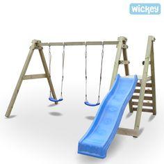 Holzschaukel Wickey SkyGlider 290, Holzschaukel inkl. Schaukelsitze und Rutsche, Gesamthöhe 255cm