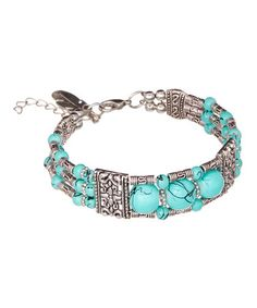 Look what I found on #zulily! Turquoise & Silvertone Bracelet #zulilyfinds