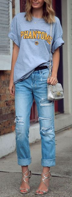 Boyfriend Jeans + Strappy Heels...love this combo, but where would one actually wear this???