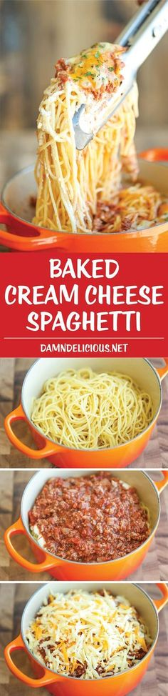 Baked Cream Cheese Spaghetti - A baked spaghetti casserole that's amazingly cheesy and creamy. It's comfort food at its best, and EASIEST! (Creamy Pasta Recipes With Milk) Baked Spaghetti Casserole, Baked Cream Cheese Spaghetti, Shrimp Casserole, Cream Cheese Pasta, Taco Casserole, Casserole Recipes, I Love Food, Good Food, Yummy Food
