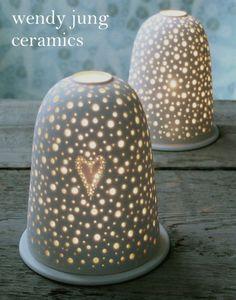 Wendy Jung ceramics, porcelain, pierced, nightlights, decorations, stem vases