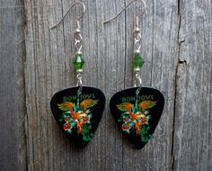 Bon Jovi Album Artwork Guitar Pick Earrings with Green Crystals by ItsYourPick on Etsy