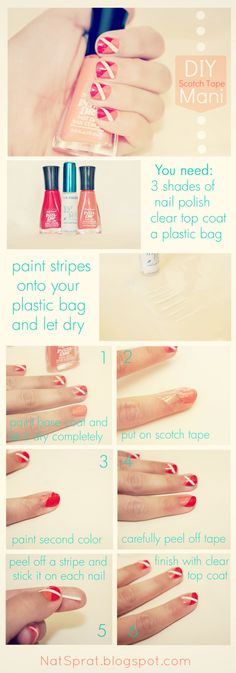 Super Easy mani using Scotch Tape!