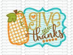 SVG DXF EPS cutting file Give Thanks pumpkin frame svg