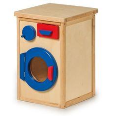 Lavadora de #madera de juguete para #niños con cajón para el jabón, puerta con imán y tambor con manivela giratorio #educacion #padres