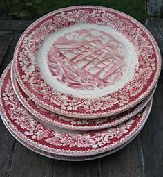 Vintage red transferware plates