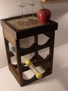 Wood Wine Rack  Holds 6 Bottles  Handcrafted of by krisfindings,