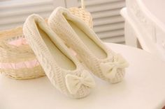 Cute-Women-Knitted-Soft-Sole-Bowtie-Crochet-Dancing-Shoes-Indoor-Home-Slippers