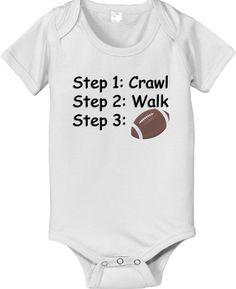 Football steps crawl walk future pro football player sports baby infant bodysuit