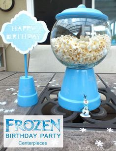 Disney Frozen Centerpieces filled with Popcorn  l  Two Sisters Crafting