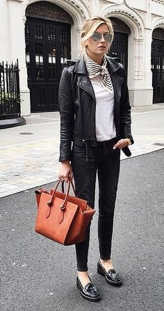 black leather jacket and white t-shirt with neckerchief