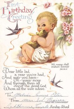Baby and Bluebirds Vintage Birthday Card. $4.00, via Etsy.