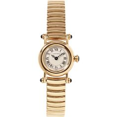 Beladora Cartier 18K Yellow Gold Ladies Diablo Watch From Beladora (46 835 SEK) ❤ liked on Polyvore featuring jewelry, watches, accessories, braceletes, gold, gold watches, vintage jewelry, vintage jewellery, gold jewelry and vintage watches