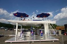 Red Bull bar setup using a recycled shipping container.
