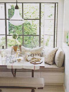 Breakfast nook, window ledge for plants