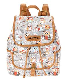 Look at this UNIONBAY Gray & Red Owl Backpack on #zulily today!