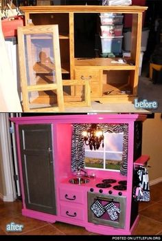 Old tv entertainment center Turned Little Girls Play Kitchen! You can totally do this on the cheep now. People are practically giving these old entertainment centers away! Play Kitchens, Play Kitchen Diy, Childs Kitchen, Toddler Kitchen, Kitchen Sets, Tv Stand To Play Kitchen, Pretend Kitchen, Diy For Kids, Crafts For Kids