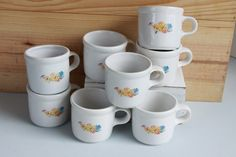 McCoy Coffee Cups Restaurant Ware Mugs Floral Pattern by LittleShopofWhatNots on Etsy