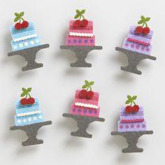 Felt Birthday Cake Clips, Set of 6   World Market
