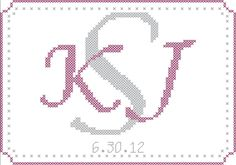 Custom Monogram Cross Stitch Pattern - Wedding Gift, Wedding Memory, First Anniversary Gift, Pillow Topper. #monogram #wedding #shopping #crossstitch                                                                                                                                                                                 More