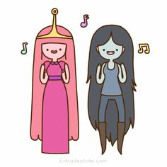 Princess Bubblegum and Marceline the Vampire Queen from Adventure Time do a little jig. :p
