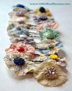 DIY vintage bobby pins- Fabric, buttons, and bobbies with bases