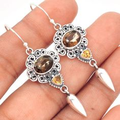 Smokey-Quartz-Citrine-925-Sterling-Silver-Earrings-Jewelry-SE96988