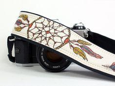 Camera Strap, Hand painted Dream Catcher No.5, Dreamcatcher, Feathers, dSLR or SLR. $39.00, via Etsy.