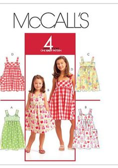 CHILDREN'S AND GIRLS' DRESSES: Pullover, flared dress, above mid-knee has self-lined upper front and back (fitted through the chest), raised waist seam and narrow hem finishing; dresses