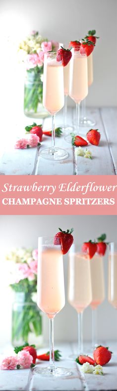 These Strawberry Elderflower Champagne Spritzers are the perfect light, sweet, and sparkling cocktail for spring! | The Millennial Cook #springrecipe #cocktail #strawberry #elderflower #champagne