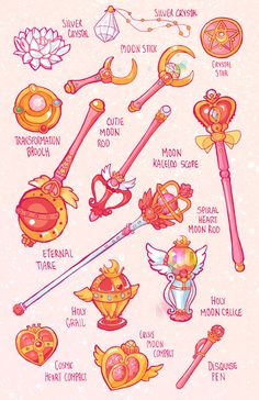 "earthguardianmamoru: "" – Sailor Moon`s Items and Weapons for all 5 arcs After drawing the items and weapons for my Earth Guardian Mamoru comic, I decided to the originals as well. Here are all of Usagi's magical girl gadgets ;) """