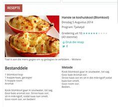 Kos, South African Recipes, Ethnic Recipes, Dutch Food, Dutch Recipes, Afrikaans, Test Kitchen, Vegetable Recipes, Vegetable Garden