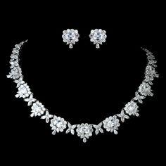 Just gorgeous! Princess Cut CZ Rhodium Plated Wedding Jewelry Set - Affordable Elegance Bridal -