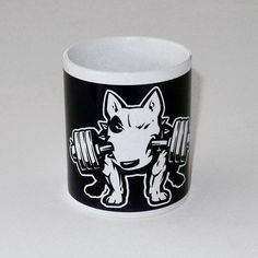 Mug with bull terrier Fitness, Dog Bull Terrier by PSIAKREW on Etsy