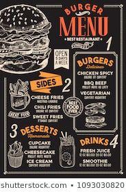 Images, photos et images vectorielles de stock similaires de Restaurant Food Menu Design Chalkboard Background - 196454786 similaires | Shutterstock Design Menu Pizza, Food Menu Design, Cafe Design, Restaurant Hamburger, Burger Restaurant, Sandwich Menu, Burger Menu, Vector Food, Brochure Food
