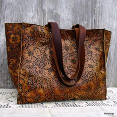 Large Leather Tote Bag in Embossed Tooled Leather