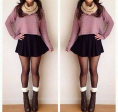 Black mini + sweater + scarf