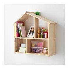 IKEA - FLISAT, Puppenhaus/Wandregal, , Hier können Kinder ein Zuhause für Puppen und Figuren einrichten und damit spielen.Wenn das Kind größer ist, kann das Puppenhaus als Regal dienen für Bücher, Fotos und anderes, was der Nachwuchs gerne zeigen will.